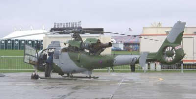 TAD015 is a Gazelle AH1 in instructional use at Middle Wallop